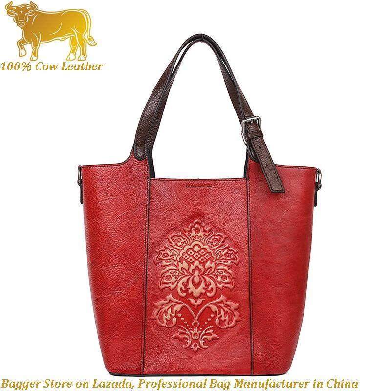 Royal Bagger Handbag For Women Girls Genuine Cow Leather Fashion Retro Causal Shoulder Sling Bag Top Handle Bags