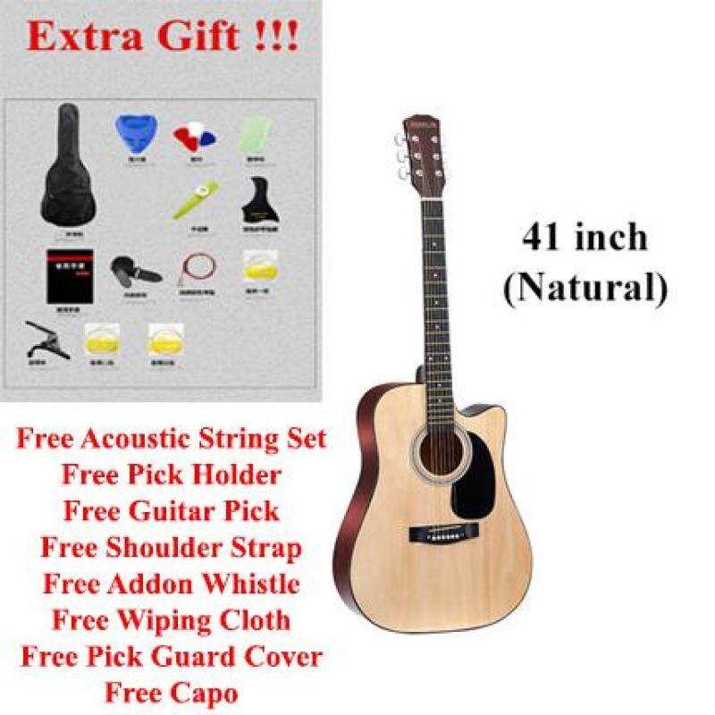JHN Standard Acoustic Folk Cutaway Basic Guitar Package 41 Inch for beginners and professional with Bag, String Set, Pick holder, Pick and Shoulder Strap Malaysia