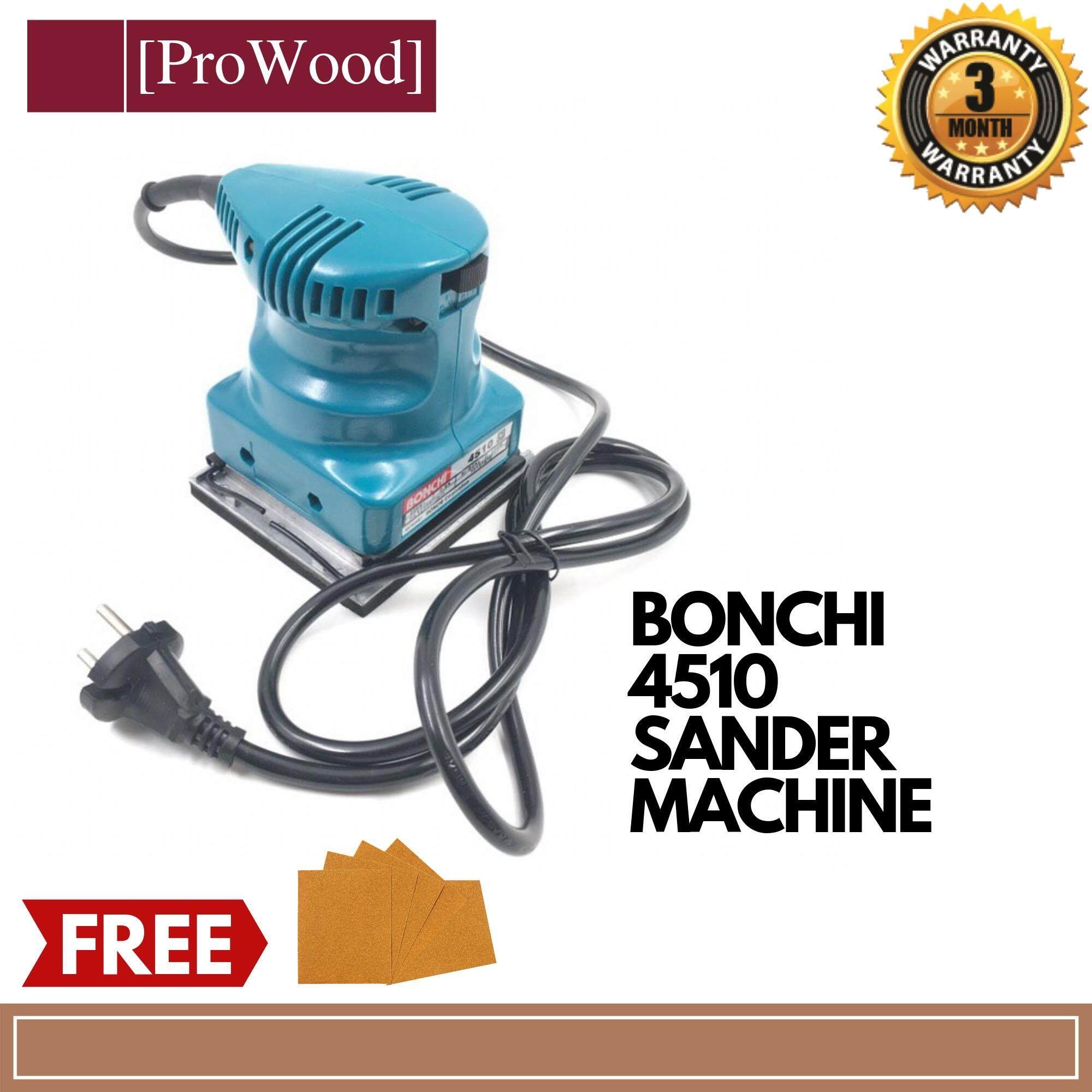 BONCHI 4510 Sander Machine Electric Sander Woodworking Sanding Tools Finishing Makita Style FOC 5pcs Sandpaper