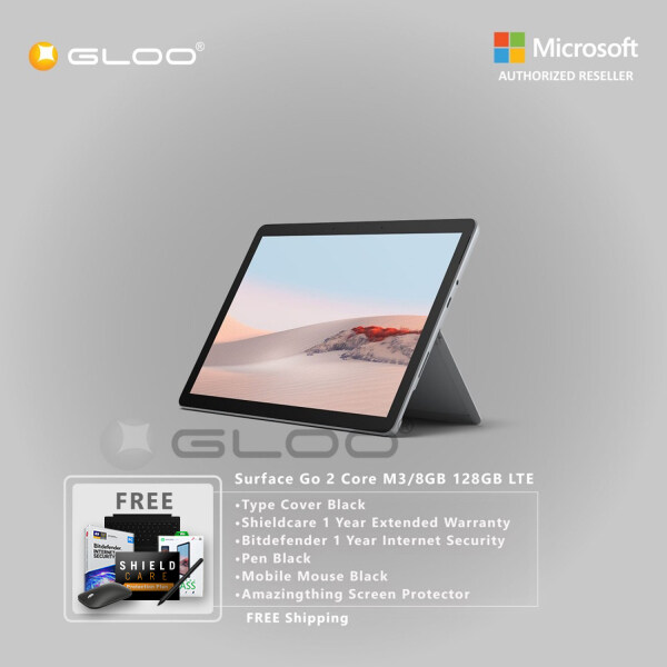 Microsoft Surface Go 2 Core M3/8GB 128GB LTE + Type Cover [Choose Color] + Shield Care 1 Year Extended Warranty+ Bitdefender 1 Year Internet Security+ Pen [Choose Color] + Mobile Mouse Black + Amazingthing Screen Protector Malaysia