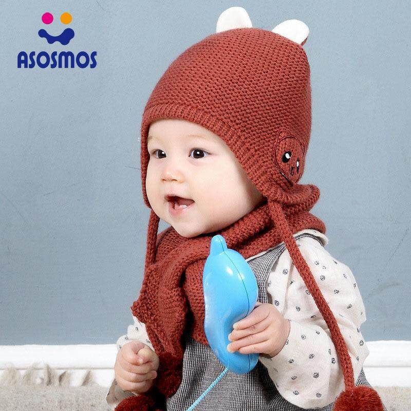 9da3de06150 ASM Baby Kid Winter Knitted Cute Bear Earmuffs Beanie Cap Scarf Set Fluffy  Pompom Ball Hat