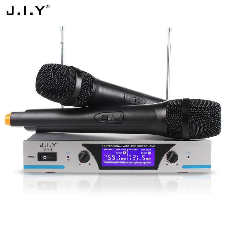V3 Dual Channels Wireless Microphone Mic System Hi-Fi Sound Wireless Mic System for KTV Specification:US plug