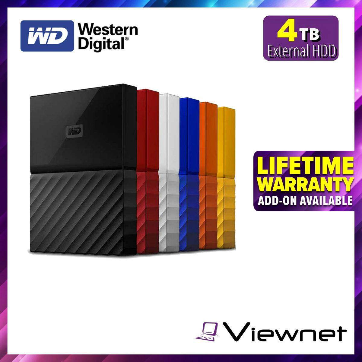 WD WESTERN DIGITAL MY PASSPORT 4TB PORTABLE STORAGE EXTERNAL HARD DISK 2 5'  USB3 0 USB2 0 COMPATIBLE AUTO BACKUP PASSWORD PROTECTION
