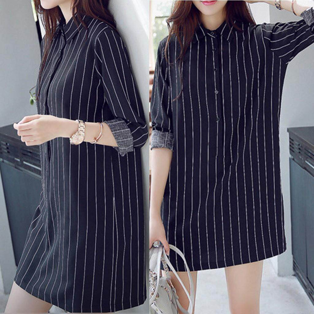 15b06861a146 Fashion Women Shirt Dress Long Sleeve Lapel Stripe Dress Leisure Dress