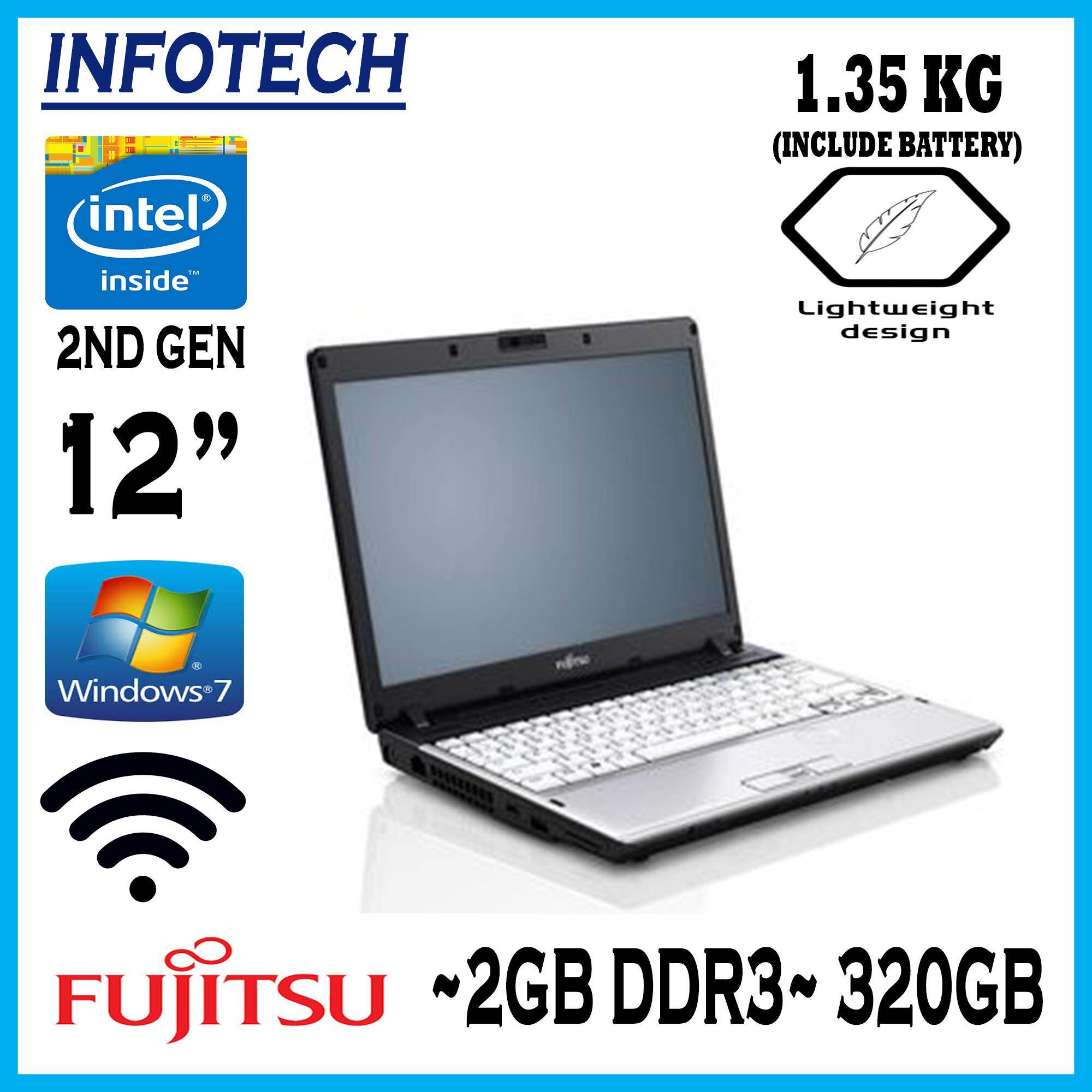 Fujitsu intel celeron 2nd gen 320GB 2GB WIFI VGA LAPTOP NOTEBOOK NETBOOK (refurbished) Malaysia