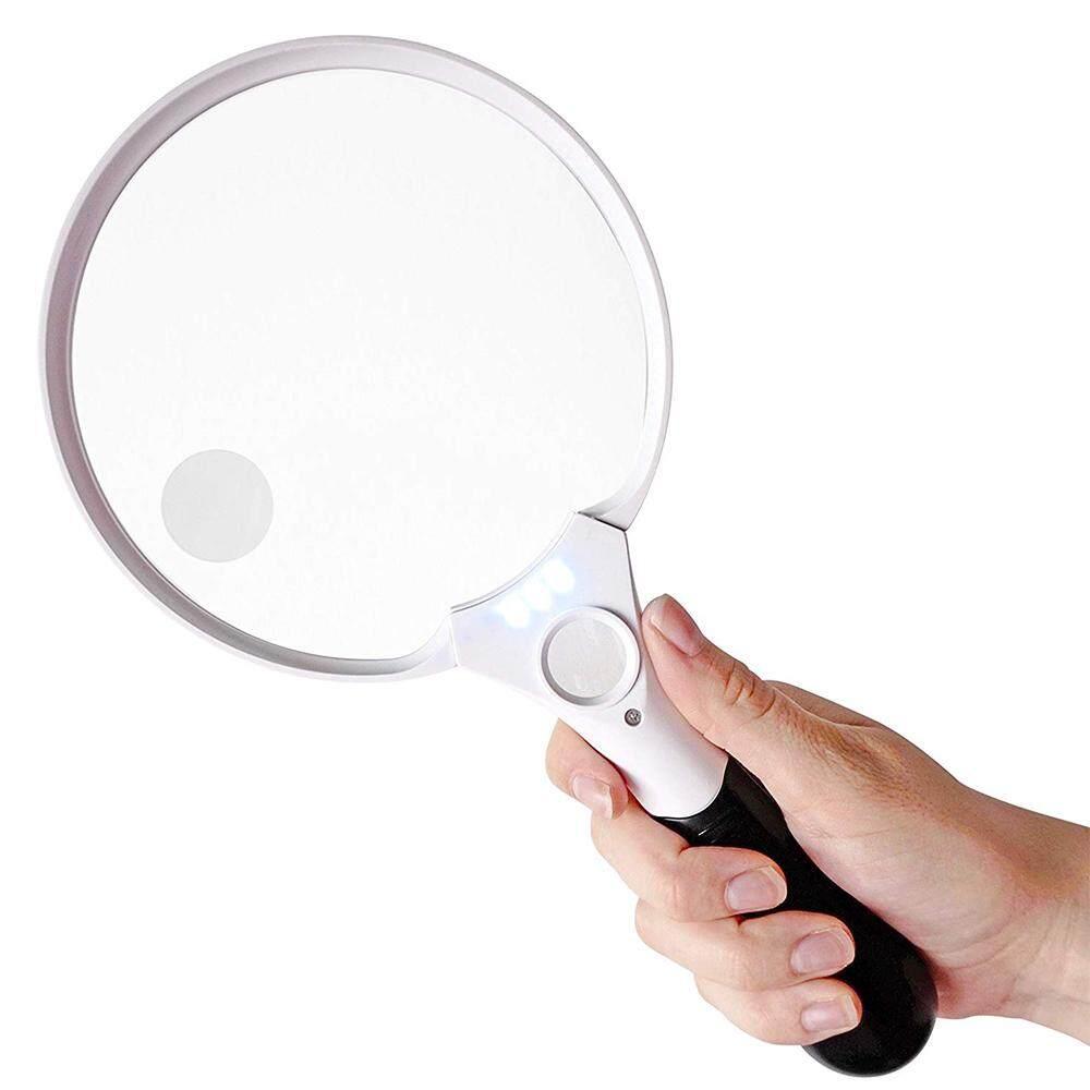 Extra Large LED Handheld Magnifying Glass with Light 2X 4X 10X Lens Best Jumbo Size Illuminated