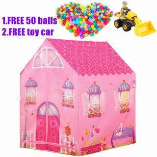 [Khuyến Mãi Hấp Dẫn] Miễn Phí 50 Quả Bóng + Cô Gái Công Chúa Lều Chơi Đùa Kids Baby Dream Playhouse Cắm Trại Lâu Đài Xmas Đồ Chơi Quà Tặng (Màu Hồng) thumbnail