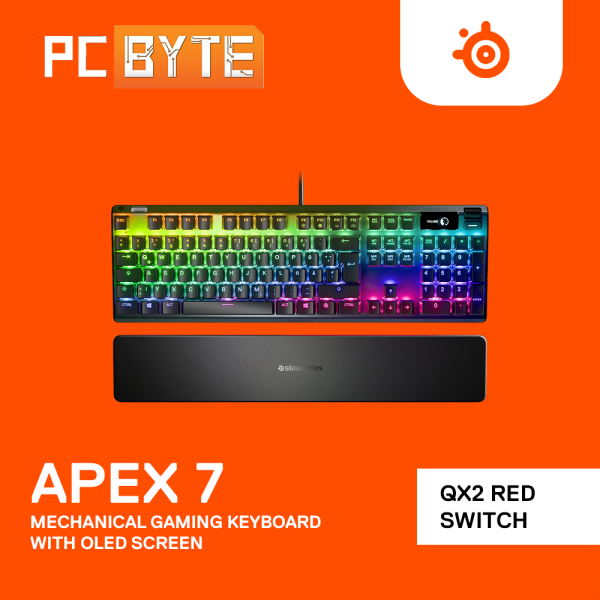 SteelSeries Apex 7 RGB Mechanical Gaming Keyboard with OLED Smart Display - QX2 Blue/Red Switch Malaysia