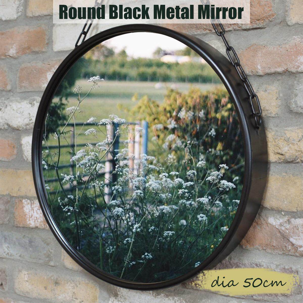 Round Industrial Black Metal Mirror Hanging Chain Wall Mounted Retro Decor(dia 50cm)