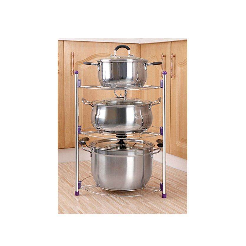 OH Kitchen Storage Holder Durable Stainless Steel Metal Pot Shelf Pan Rack Holder