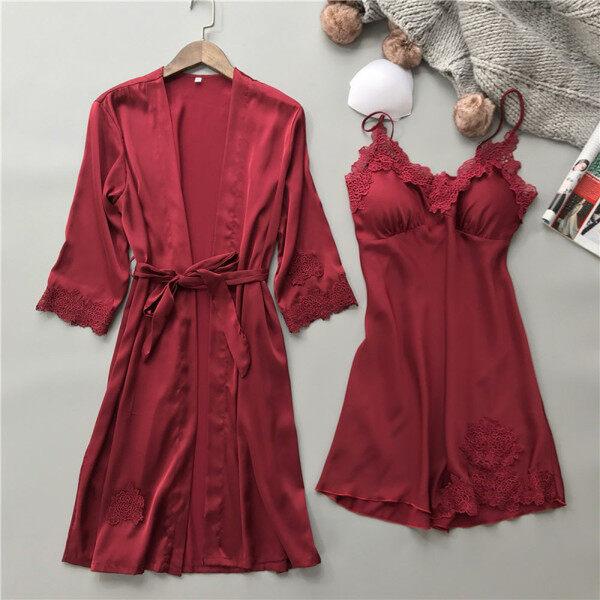 On sale Lingerie Women Silk Lace Robe Dress Babydoll Nightdress Sleepwear Kimono Set