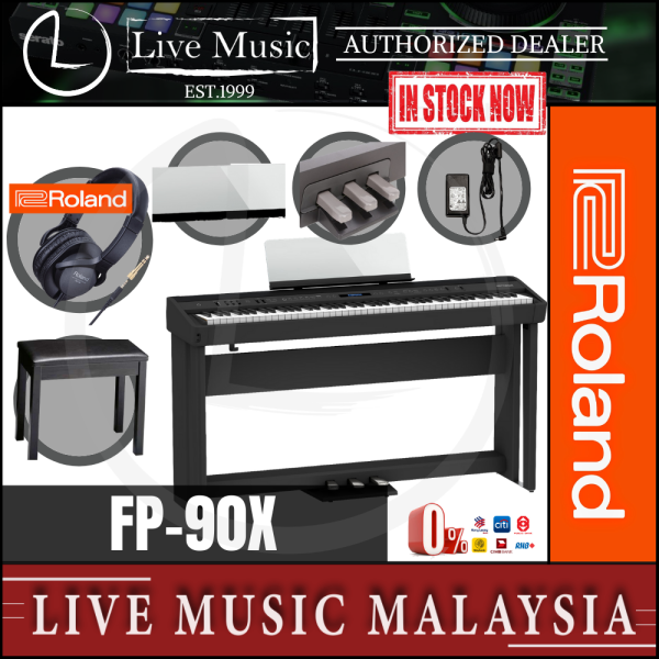 Roland FP-90X 88-key Digital Piano with Piano Stand, Bench, RH5 Headphones, Note Stand, 3-Pedal - Black (FP90X/RH-5) Malaysia