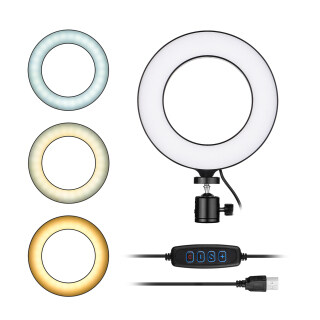 Đèn LED Tròn Mini 16Cm 6Inch Đèn Nạp, 3 Chế Độ Chiếu Sáng Hỗ Trợ USB 11 Cấp Độ Độ Sáng Có Thể Điều Chỉnh Với Bộ Chuyển Đổi Đầu Bi Linh Hoạt Trang Điểm Mặt Tự Sướng Video Trực Tuyến Để Phát Trực Tiếp thumbnail