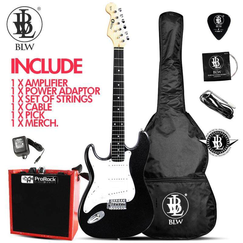 BLW Left Handed Glitz Stratocaster Style Electric Guitar Starter Beginner Pack comes with 5 Watt Amplifier Bag, Cable, Strings, Pick and Merchandise Sticker (Black) Malaysia