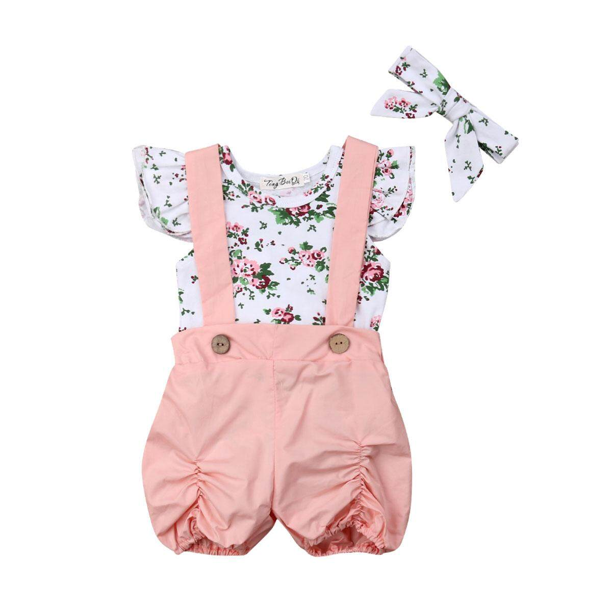 06f30e1ec98e Newborn Kids Baby Girls Floral Tops Romper Bib Pants Overalls Outfit Clothes  Set