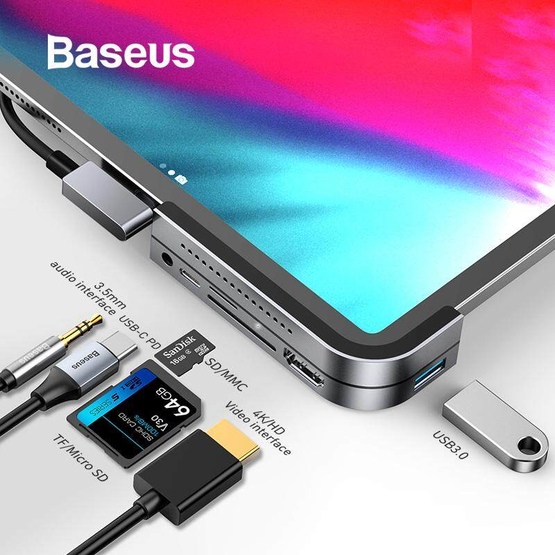 BASEUS Elbow Type-C HUB Converter 6 Extended Interfaces USB C HUB to HDMI USB 3.0 USB HUB for iPad Pro Card Reader USB Splitter for MacBook Pro Surface