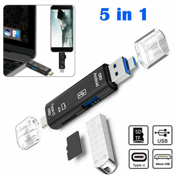 Multi-function 5 In 1 USB 3.0 Type C Memory Card Reader OTG Reader Adapter Mobile Computer Tablet Type-c Usb Small Mini Universal Tf Card Memory Card Otg High-speed Card Reader Car U Disk Car Reader