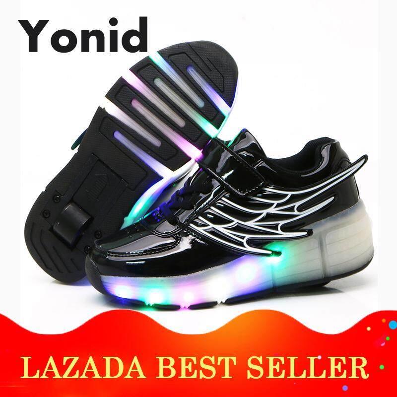 Yonid Ukuran 28-40 Anak-Anak Lampu Led Lebih Tinggi Tunggal Rol Roda Sepatu Sepatu Anak Perempuan Sepatu Heelys Anak Laki-Laki Sepatu Luncur By Yonid.