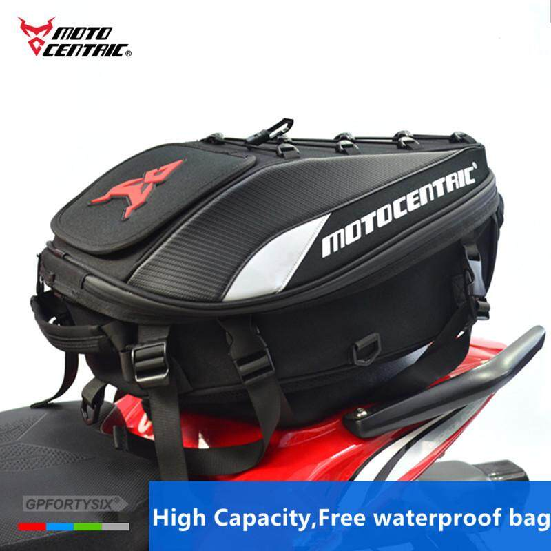 Motorcycle Rear Seat Bag Waterproof Motorbike Travel Luggage Reflective Scalable Helmet Pack Belt Tail Red
