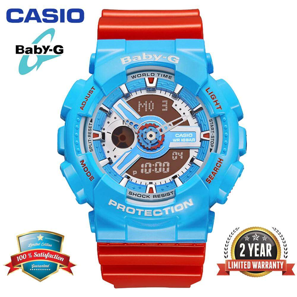 (Ready Stock)Original Casio Baby G_BA-110NC-2A Women Sport Digital Watch Duo W/Time 200M Water Resistant Shockproof and Waterproof World Time LED Light Girl Wist Sports Watches with 2 Year Warranty BA110/BA-110 Red Blue Malaysia