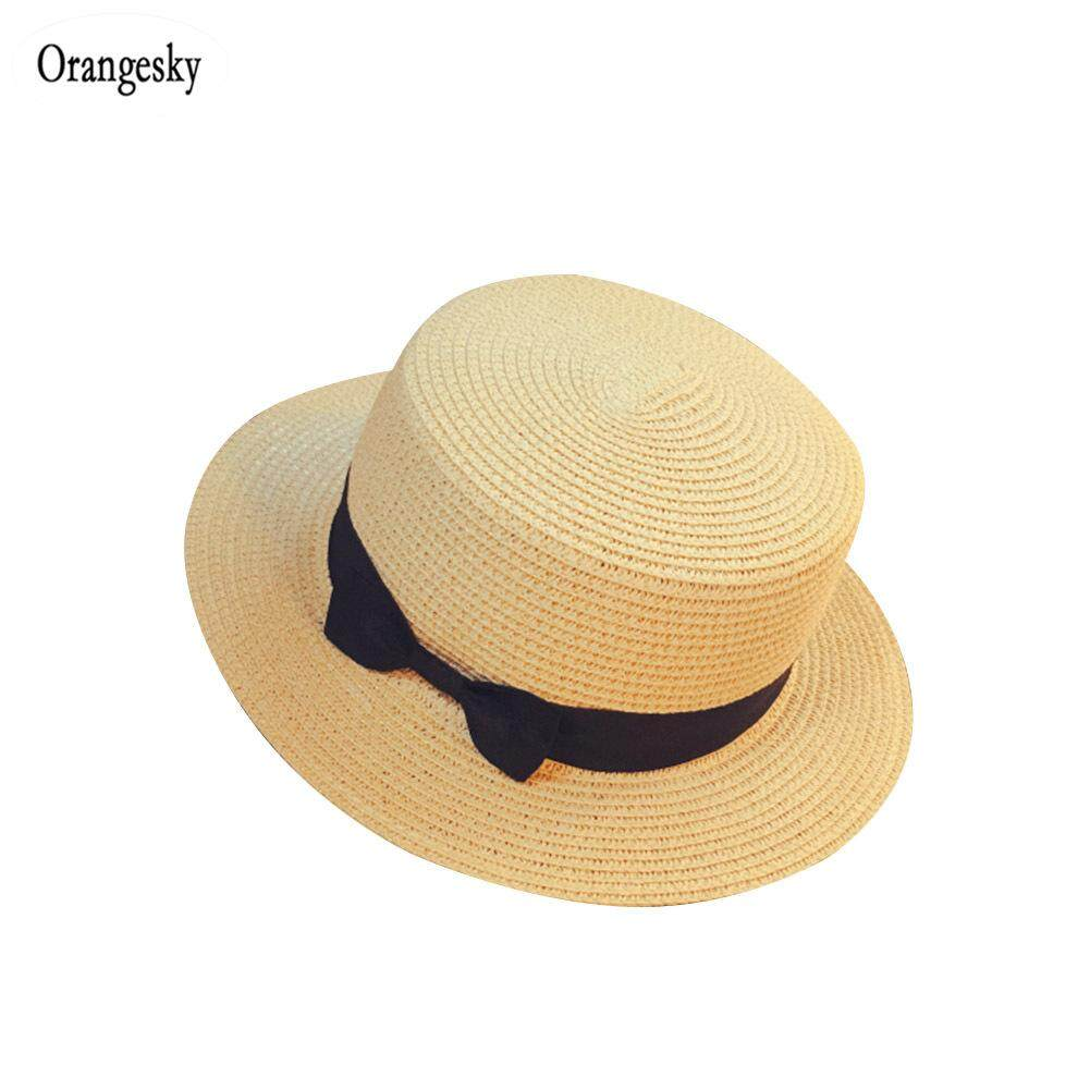 19811ad3 Orangesky Straw Sunhat Women Summer Beach Wide Brim Bow Sunscreen Outdoor  Travel Hat Cap