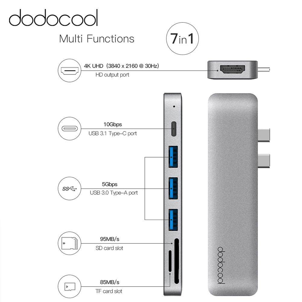 dodocool aluminum alloy 7-in-1 multiport hub with dual usb-c connectors