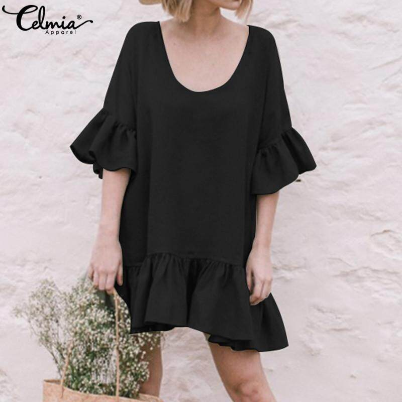 4331fbc73aab9 Celmia Women Casual Short Sleeve Ruffle Frill Plus Size Tunic Top Club  Party Mini Dress
