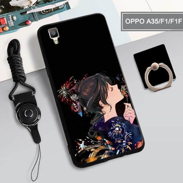 Casing untuk OPPO A35/F1/F1F Luxury 360 Derajat Penutup Perlindungan Penuh TPU Lembut Sarung Telepon Matte dengan OPPO A35/F1 /F1F, OPPO Casing Ponsel dengan Tali + Cincin