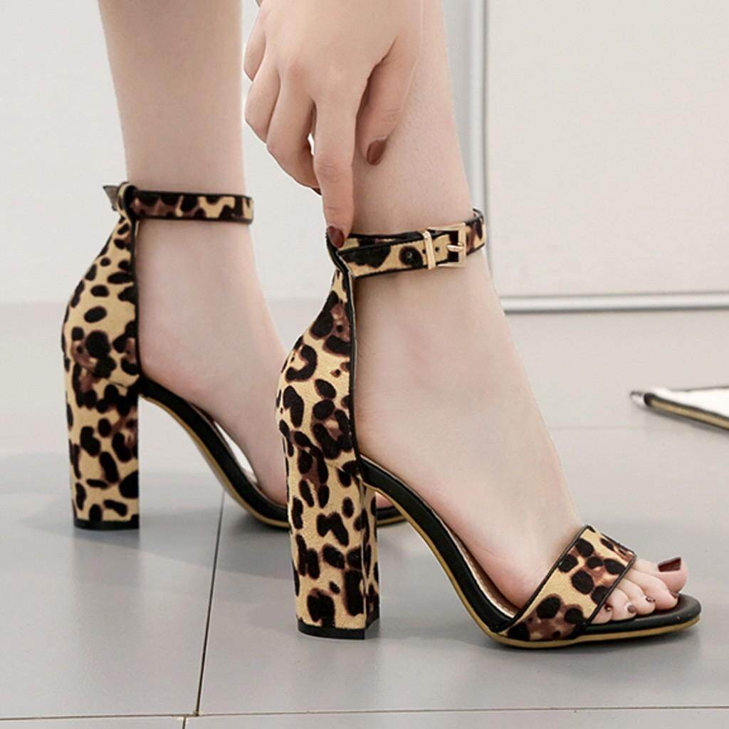 Guo Peep Toe Leopard Thick Heel Sandals Buckle Strap Women Square Heel Shoes By Hongshouguostore.