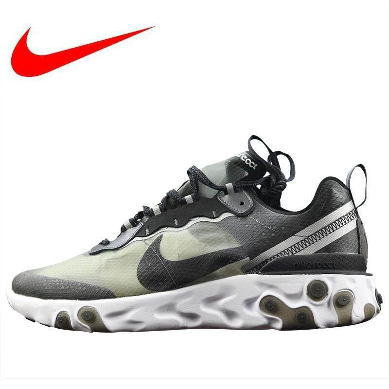 Nike_Epic_React_Element_87 Pria Sepatu Lari Sepatu Olahraga Bernapas Redam Kejut Hitam