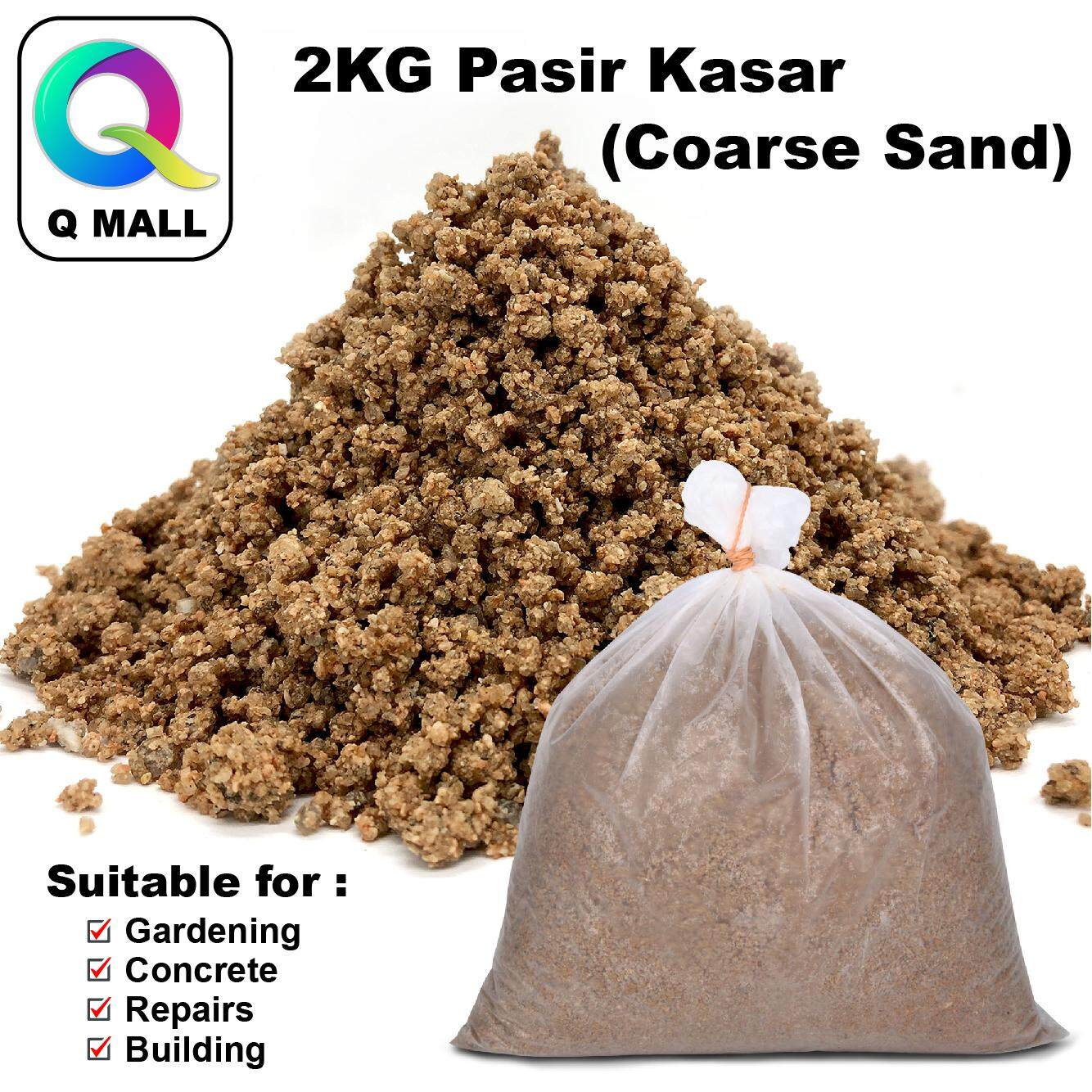 Q MALL 2KG Coarse Sand / Pasir Kasar for Building Material Concrete Gardening DIY