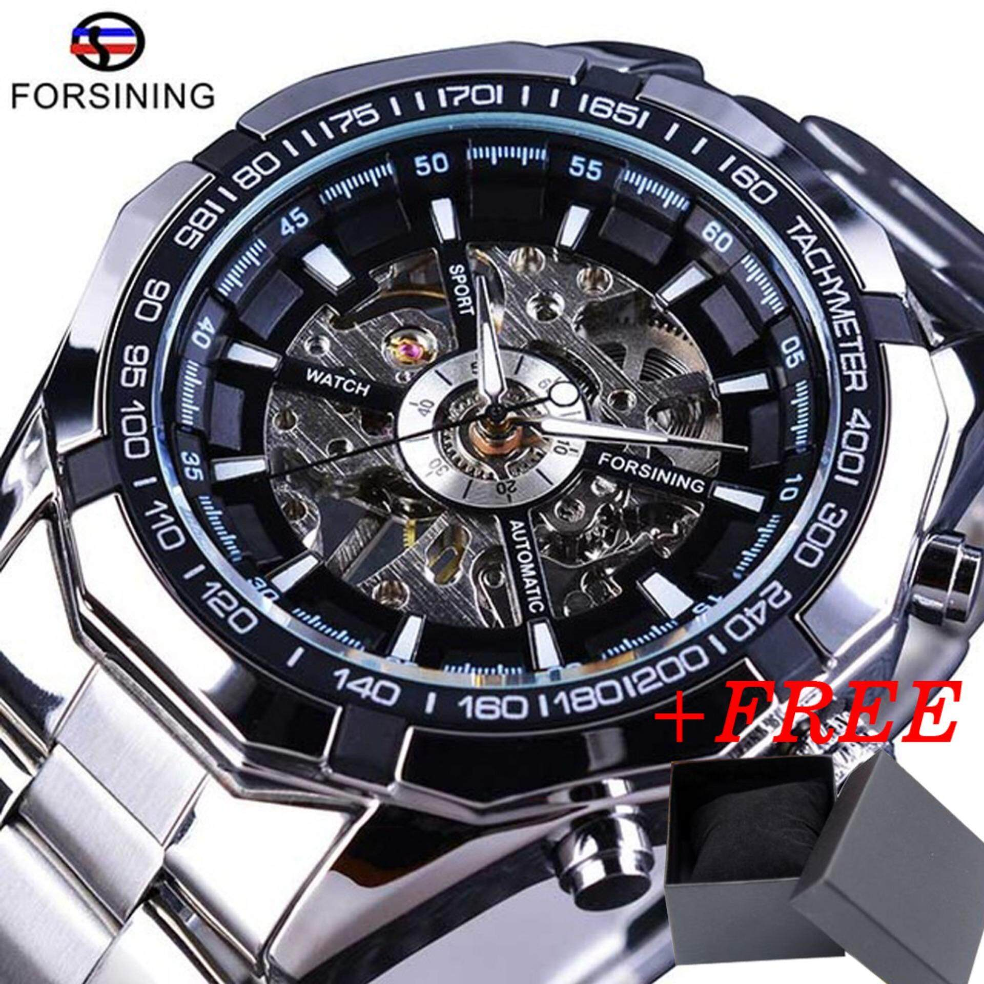 Brand Forsining Watch Luxury Fashion Vintage Steel Stainless Clock Black Roman Dial Automatic Mechanical Skeleton Wristwatch For Men Malaysia