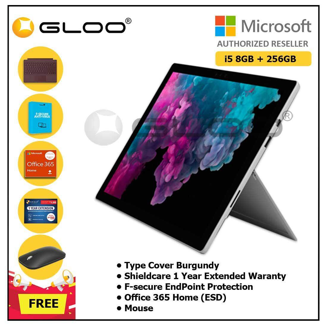 Microsoft Surface Pro 6 Core i5/8GB RAM - 256GB + Type Cover Burgundy + Shieldcare 1 Year Extended Warranty + F-Secure End Point Protection + Office 365 Home (ESD) + Mouse Malaysia
