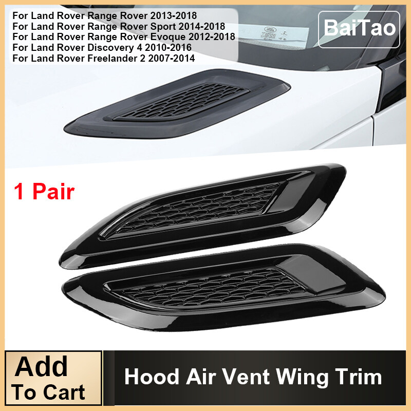 Air Wing Trim Exterior Hood Air Vent Outlet Wing Trim for Land Rover Range Rover Evoque 2012-2018 Black /& Silver