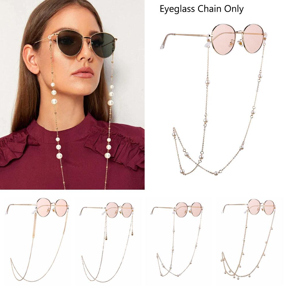 1 pc Eyeglass Chain Fashion Women's Pearls Sunglasses Chains Gold Eyeglasses  Chains Sunglasses Holder Necklace Eyewear Retainer Accessories | Lazada