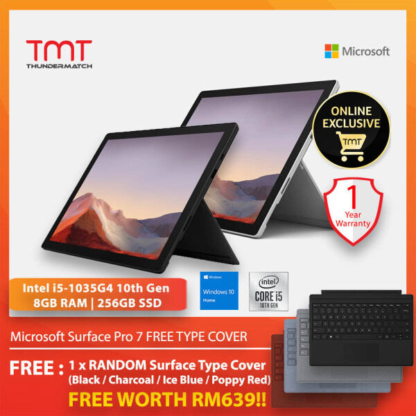 Microsoft Surface Pro 7 Black / Platinum ( Intel Core i5-1035G4, 8GB Ram, 256GB SSD, 12.3 Touch, W10 ) ( PUV-00012 )  + FREE Type Cover Malaysia