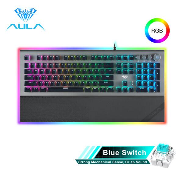 AULA L2098 FULL RGB Mechanical Keyboard Marco Programming metal panel Crystal Black/Blue Switch for PC Laptop Game Singapore