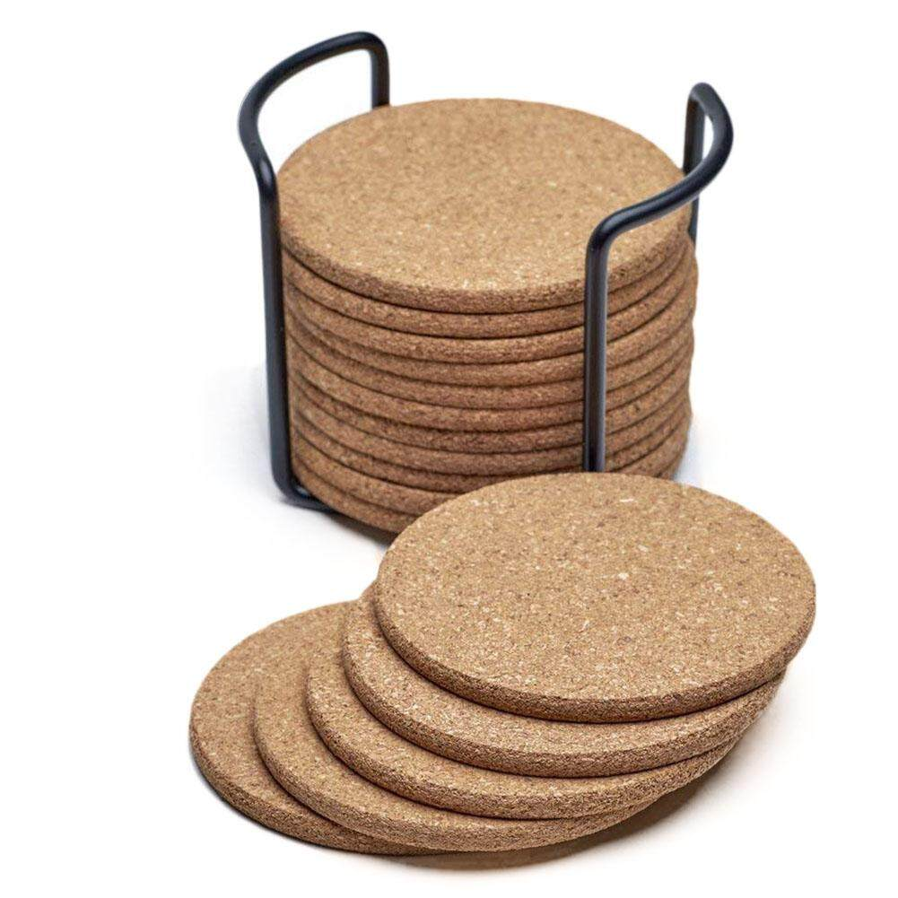 Natural Cork Coasters With Round 16pc Set With Metal Holder Storage Caddy – 1/5inch Thick, Absorbent, Eco-Friendly, Heat-Resistant, Reusable By Sunnny2015.