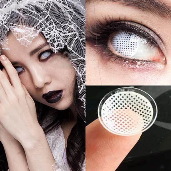 1 Pair White Mesh Large Diameter Eyes Cosmetic Colored Contact Lens Cosplay Halloween