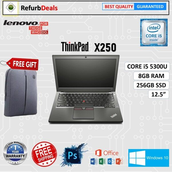 LENOVO ThinkPad X250 CORE i5- 5300U / 8GB RAM / 256GB SSD / 12.5 inch SCREEN / WINDOWS 10 Pro / REFURBISHED NOTEBOOK / LIGHT WEIGHT LAPTOP / CORE i5 LAPTOP / LENOVO LAPTOP Malaysia
