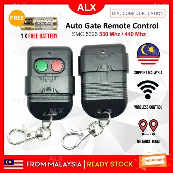 ALX Malaysia Autogate Door Remote Control Key Duplicator SMC5326 330Mhz 433Mhz DIP Switch Auto Gate Controller FREE Battery
