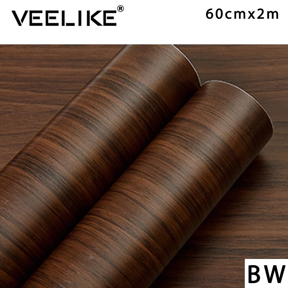 [ New ] Veelike Wood Grain Home Decor Furniture Vinyl Wrap Waterproof Wall Sticker Self Adhesive PVC Wallpaper Kitchen Desk Door Sticker Decorative Film 60x200cm