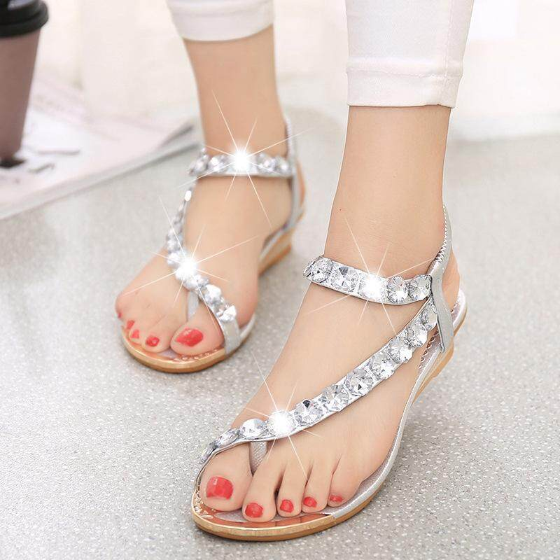 93d587981 2016 Summer New Style Sandals Female Flat Crystal Thong Wedge Sandals  Bohemian Fashion Shoes