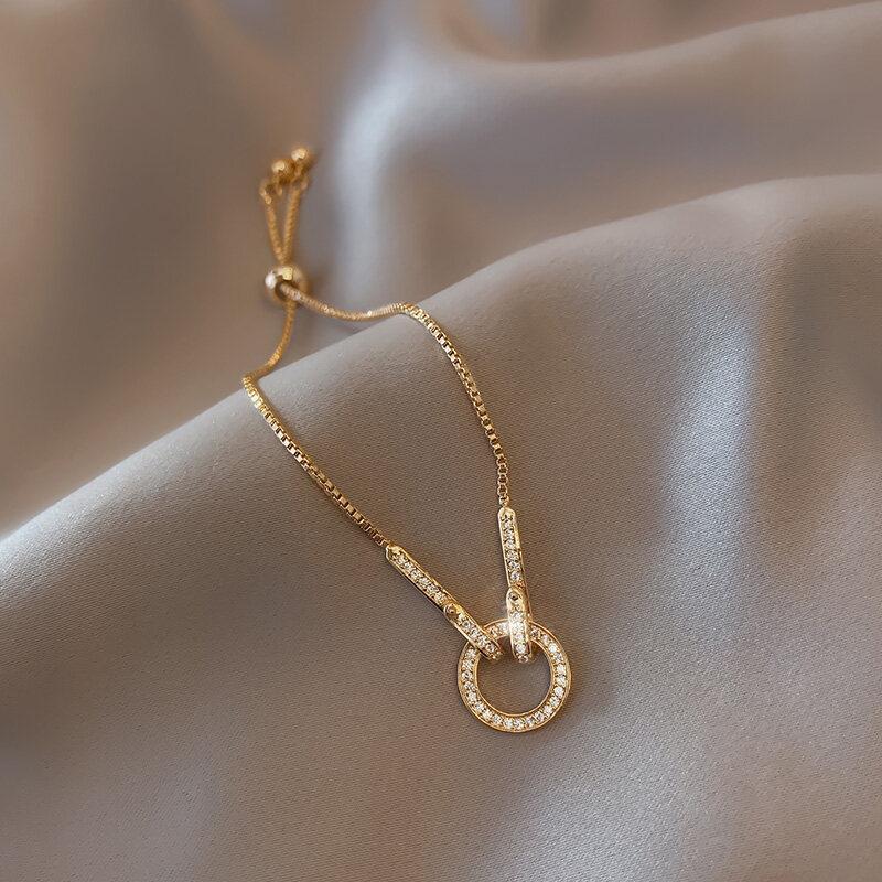 Phụ kiện vòng đeo tay zircon đính đá pha lê lấp lánh thời trang, có thể điều chỉnh độ dài dành cho nữ