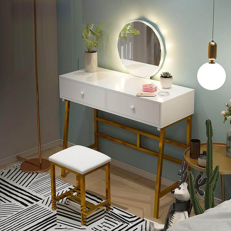 80x40x75cm, Dressing Table with Drawers, Solid Wood, Steel Frame, European Bedroom Dressing Table with Stool and HD Mirror, Princess Makeup Cabinet Luxury Small Dressing Table