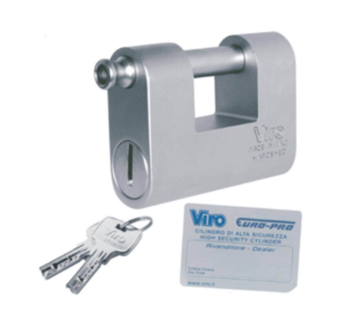 VIRO Euromonolith 4154 Padlock 87mm with Computer Key (Made in Italy)