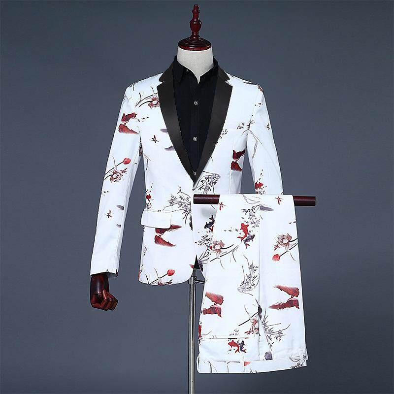 (jacket + Pants + Tie ) High-End Fashion Printing Groom Wedding Dress Suit Banquet Stage Performance Suit Mens Casual Suit By Yangs House.