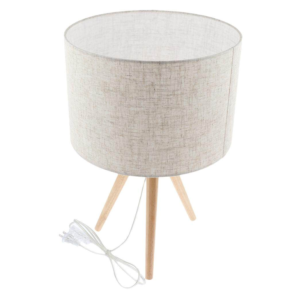 Perfk 1 Pc Country Style Wooden Tripod Bedroom Lamp for Nightstand,Warm Light Bulb