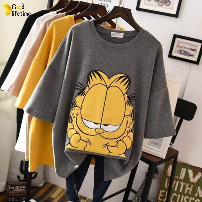 14d7759d921 GLT Women Tops Adorable Cartoon Garfield Baggy Slim Fit Casual T-shirt for  Summer