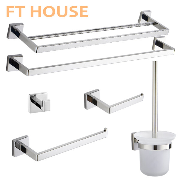 Stainless Steel Bathroom Hardware Set Chrome Polished Toothbrush Holder Paper Holder Towel Bar Bathroom Accessories Square Shape